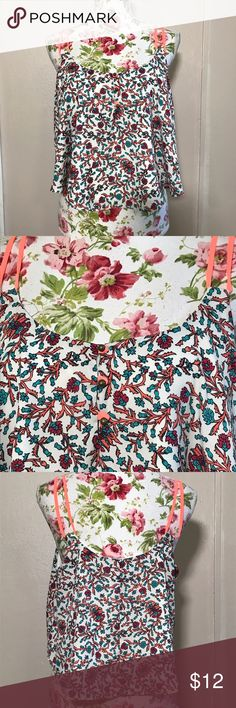 Summer floral crop top Absolutely stunning crop top with neon straps. In perfect condition. Size large. Charlotte Roos brand. Like flat and unstretched approximate measurements are bust 18 inches length 20 inches Charlotte Russe Tops Crop Tops