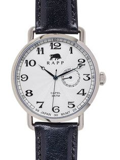 Guilloche Sunray Japanese Movement Capel Watch, 41mm from rapp black on Gilt