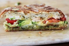 turkey and bacon grilled cheese with tomatoes, avocado, and basil pesto.