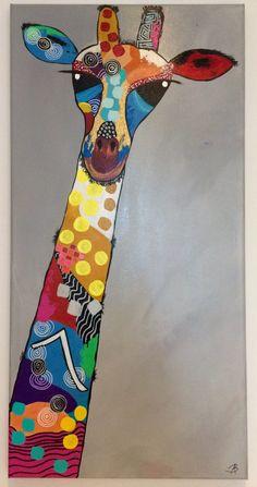 Girafa: Acrylic painting with mixed technique by Bego Ayala - Malerei Giraffe Painting, Giraffe Art, Afrique Art, Happy Paintings, Whimsical Art, Animal Paintings, Indian Art, Doodle Art, Art Lessons