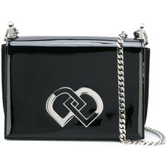 Dsquared2 'DD' crossbody bag (£970) ❤ liked on Polyvore featuring bags, handbags, shoulder bags, black, cross body, chain strap crossbody purse, dsquared2 handbags, chain strap purse and patent leather crossbody