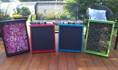 Drawers repurposed to chalkboards and bulletin boards.