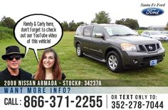 2008 Nissan Armada Gainesville,FL Miles: 121,893 Stock #: 34237A Transmission: Automatic Engine: Gas/Ethanol V8 5.6L/339 VIN: 5N1BA08D18N602834 Exterior Color: Gray Doors: 4 Drive: RWD Size/ Market Class: SUV