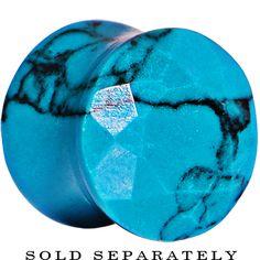 0 Gauge Turquoise Semi Precious Stone Faceted Double Flare Plug #bodycandy #plugs