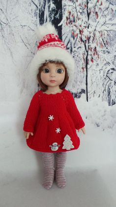 """Hand Knit Outfit for 10"""" Patsy 10"""" Annestelle Doll NR 3 Christmas 