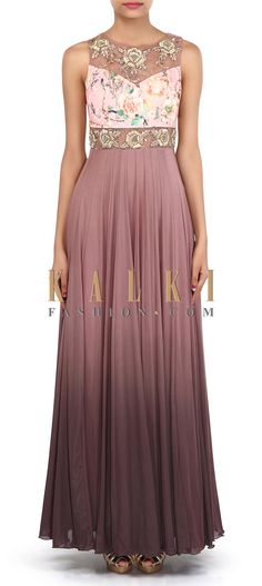 Buy Online from the link below. We ship worldwide (Free Shipping over US$100). Product SKU - 306566. Product Link - http://www.kalkifashion.com/shaded-anarkali-gown-adorn-in-zardosi-embroidery-only-on-kalki.html