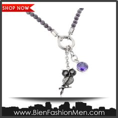 """Mens Necklaces   Mes Necklace   Mens Accessories   Mens Jewelry   Necklace on Men   Jewelry on Men   Jewelery for Men   Necklaces on Men   Men Jewellry   Mens Fashion ♦ Men's Stainless Steel Owl and Bezel Pendant Necklace, 20"""" $59.00"""