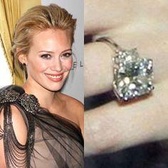 Hilary Duff wears a 14 carat radiant cut diamond ring. https://www.facebook.com/SpitzJewelers