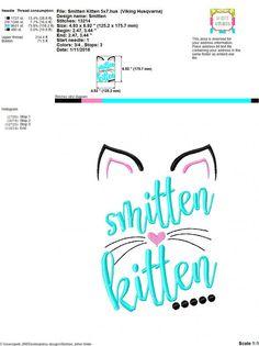 Embroidery design 5x7 6x10 Smitten Kitten by SoCuteAppliques
