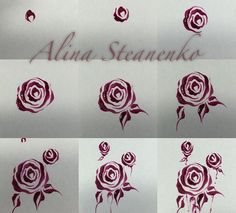 How to draw roses on nails 3d Nail Art, Rose Nail Art, Rose Nails, Flower Nail Art, Nail Arts, Uñas One Stroke, One Stroke Nails, Pedicure Nails, Diy Nails