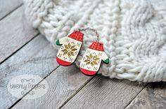Double wood brooch Christmas winter mittens  by TheTwentyFingers, $11.00