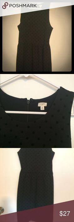 Black sleeveless dress Black sleeveless dress with velvet polka dots! Worn 1x. Knee length J. Crew Dresses Mini