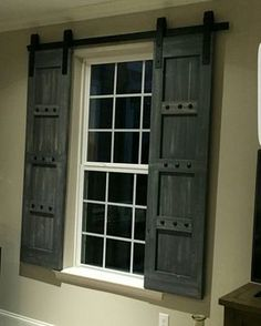 Interior Window Barn Shutters - Sliding Shutters - Barn Door Shutter Hardware Packages Available - Farmhouse Style - Rustic Wood Shutter Interior Window Shutters, Interior Barn Doors, Interior Windows, The Doors, Windows And Doors, Entry Doors, Patio Doors, Front Entry, Barn Door Window