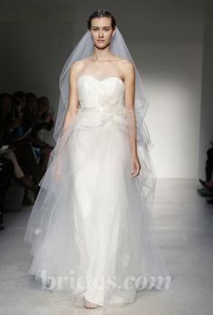 Brides: Christos - Fall 2013. Strapless tulle A-line wedding dress with floral applique and a sweetheart neckline, Christos
