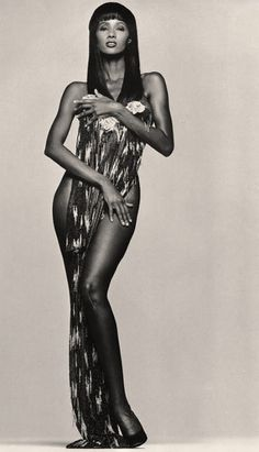 "Supermodel Iman Channels Trailblazer Josephine Baker: Iman by Andrew MacPherson in ""Les Nuits d' Iman"" for Vogue Paris September, 1988 Top Models, Black Models, Female Models, Women Models, Supermodel Iman, Iman Model, Black Supermodels, Iman Cosmetics, Afro"