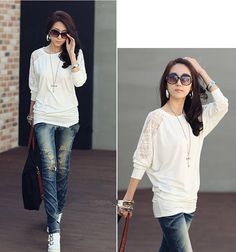Loose Fit Scoop Neck Lace Splicing Hook Flower Hollow Out Batwing Sleeve Cotton Blouse For Women (WHITE,L) | Sammydress.com $7.09