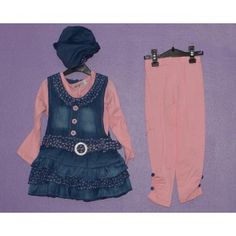 Collection+BOABAO+2013  Ensemble+robe+en+jean+++tee+shirt+manches+longues+rose++bonnet+en+jean+++legging+rose  Tailles:+Taille+80cm+=+12-15+mois+//  taille+85+cm+=+18-21+mois