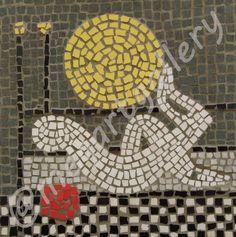 Artist:Paltatzidou Varvara  Title:Spurs to Dionisi Fotopoulo mosaic on wood Price:550€