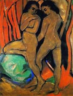 "Mordecai on Twitter: ""Franz #Marc (1880-1916), ""Two Standing nude with green rock"", c 19010-11. https://t.co/9vq1hQQW3N"""
