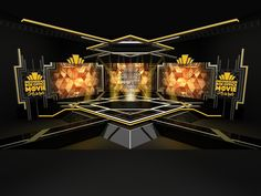 """an """"art deco concept"""" to reward stage design – STAGE:-/ – Exhibition Stand Booth Design, Art Deco Design, Animal Crossing, Concert Stage Design, Virtual Studio, Stage Set Design, Singing In The Rain, Experiential, Night Club"""
