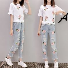 5xl plus big size women set clothing spring autumn summers 2017 feminina white tshirts denim pants two pieces suits female Y0268