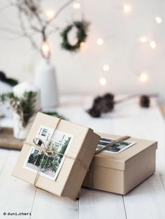 christmas gift wrapping with photos and memories