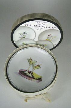 NEW Set of 4 Boston Warehouse Porcelain Plates Martini 6.5 Inches Glasses Shaker #BostonWarehouseTradingCorp