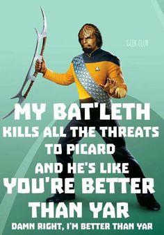 My Bat'leth Kills All The Threats To Picard : star trek next generation memes Star Trek Meme, Star Wars, Starship Enterprise, Star Trek Universe, Love Stars, I Laughed, Science Fiction, Sci Fi, Geek Stuff