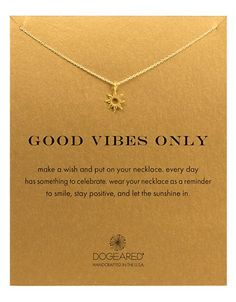 Jewelry & Accessories | Necklaces | 'Good Vibes Only' Sun Pendant Necklace | Lord and Taylor