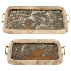 Set of Two Lacquered Parchment Trays by Arturo Pani | From a unique collection of antique and modern decorative objects at https://www.1stdibs.com/furniture/more-furniture-collectibles/decorative-objects/
