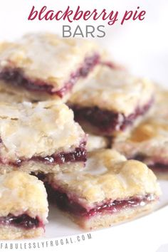 Easy Blackberry Pie Bars Recipe - Fabulessly Frugal I love these blackberry pie bars! The sweet berry filling and tender, flaky crust are magical together. Oreo Dessert, Dessert Bars, Dessert Healthy, Dessert Chocolate, Dessert For Bbq, Simple Dessert, Dessert Bread, Chocolate Cream, Cheesecake Facil