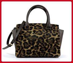 MICHAEL Michael Kors Women's Selma Printed Haircalf Medium Two Zip Satchel, Leopard, One Size - Top handle bags (*Amazon Partner-Link)