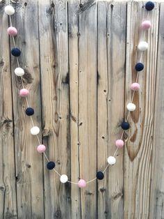 Girls Nursery Felt Ball Garland, Pom Pom Garland, Nursery Decor, Bunting Banner, Party Decor, Baby Shower by TheFickleFeltTree on Etsy