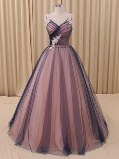 Navy blue princess tulle ball gown formal evening