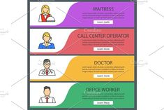 Professions web banner templates set by Icons Factory on @creativemarket