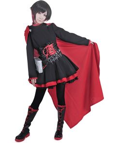 Miccostumes Women's RWBY Ruby Rose Cosplay Costume (XS, Black and Red)