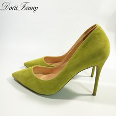 Find More Women's Pumps Information about DorisFanny Lemon yellow stiletto shoes Suede leather 10cm party prom wedding women high heels size 12,High Quality heel good,China shoe heel types Suppliers, Cheap shoes women heels from DorisFanny Store on Aliexpress.com Low Heel Shoes, Suede Shoes, Low Heels, Shoes Heels, Size 12 High Heels, Stiletto Boots, Lemon Yellow, Cheap Shoes, Womens High Heels