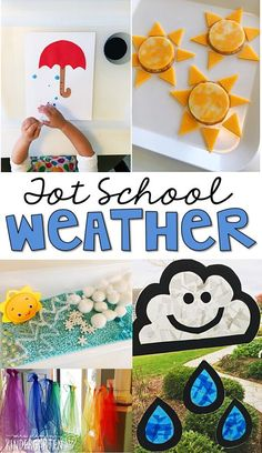 Tons of weather themed activities and ideas. Weekly plan includes books fine motor gross motor sensory bins snacks and more! Perfect for tot school preschool or kindergarten Weather Activities Preschool, Teaching Weather, Preschool Themes, Spring Activities, Preschool Activities, Preschool Printables, Young Toddler Activities, Nutrition Activities, Preschool Curriculum