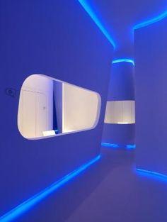 Futuristic office, blue interior, futuristic interior, modern interior, neon, minimalism, azure, white room, future home, futuristic house by FuturisticNews.com