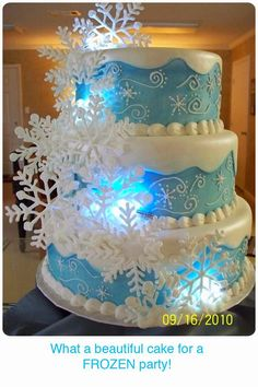 Love, Love, Love this winter themed cake for a Disney Frozen movie party!  See 39 MORE Frozen party ideas.