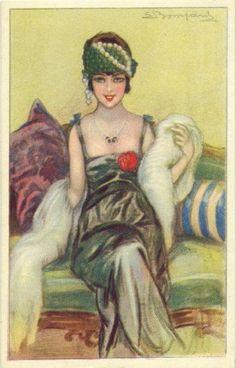 postcard illustration (early by Sergio Bompard (maudelynn) Art Deco Illustration, Vintage Illustrations, 1920s Art Deco, Art Deco Era, Belle Epoque, Vintage Pictures, Vintage Images, Vintage Prints, Vintage Art