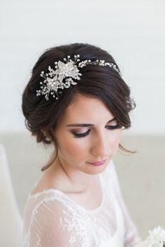 Silver Crystal Bridal Headpiece Wedding Hair Vine by GildedShadows