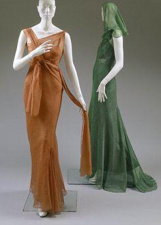 Silk evening ensembles, Elsa Schiaparelli, 1939. From the Costume Institute at the Met Museum.