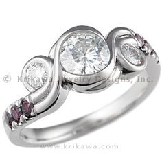 """***THIS IS PERFECT!!! BUT WITH CLEAR WHITE DIAMONDS IN THE BAND, NO COLOR.  IT'S... PERFECT!***  Three Stone Swirl Engagement Ring with Purple Diamonds - The three bezels in this unusual engagement """"swirl"""" around each other. Priced with ideal cut accent diamonds.   - This unique engagement ring has color enhanced purple accent diamonds!"""