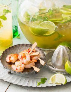 Chilli and lime prawn mini skewers