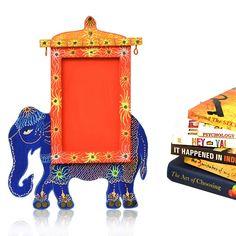 Handpainted Elephant Photoframe Blue   #simple #Decor #PhotoFrames #simple, #Decor, #PhotoFrames,