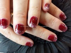 berry+gellish+gel+polish+with+silver+glitter+fade+on+natural+nails
