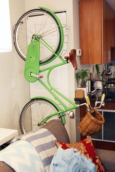 green bicycle on the living room ~ (via loveid.tumblr.com)