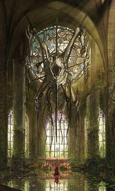 heathen by Ariduka on DeviantArt Dark Fantasy Art, Fantasy Concept Art, Fantasy Artwork, Fantasy Art Landscapes, Fantasy Landscape, Fantasy Places, Fantasy World, Arte Horror, Horror Art