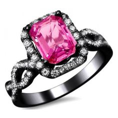 2.05ct Emerald Cut Pink Sapphire Diamond Engagement Ring 18k Black... ($2,795) ❤ liked on Polyvore featuring jewelry, rings, accessories, 18k diamond ring, pink sapphire diamond ring, gold engagement rings, gold rings and yellow gold diamond ring